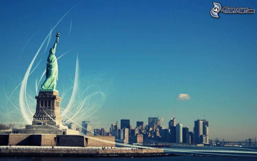 Statue de la Liberté, New York, USA, ciel