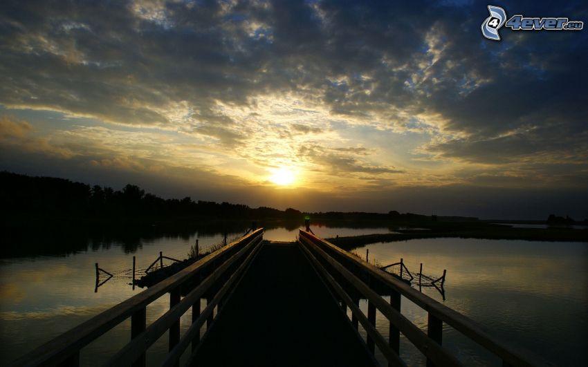 jetée, coucher du soleil, lac, nuages