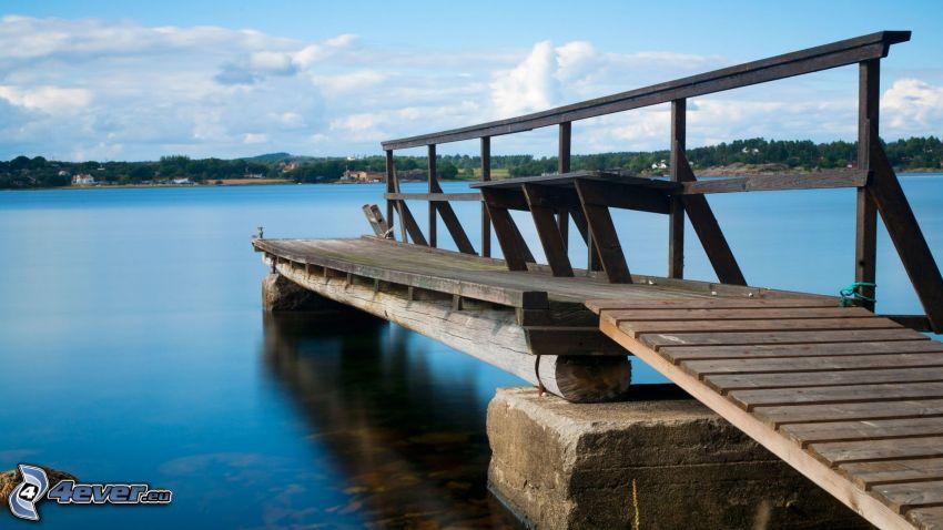 jetée en bois, lac