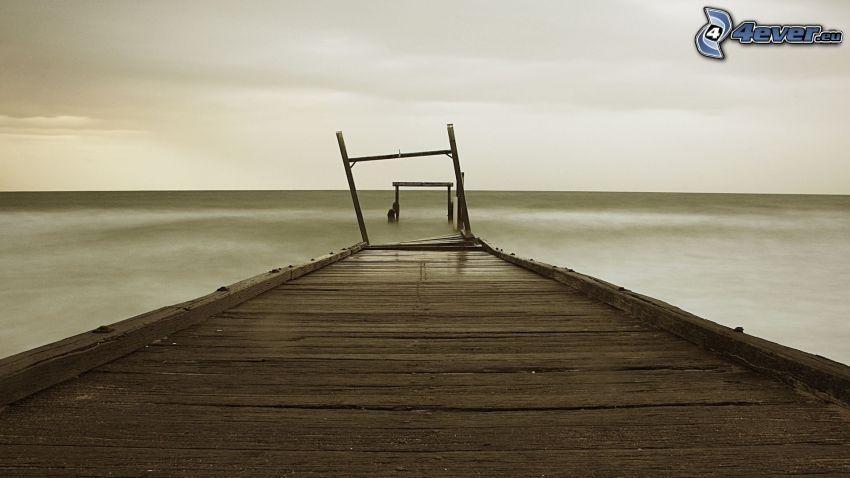 jetée en bois, mer