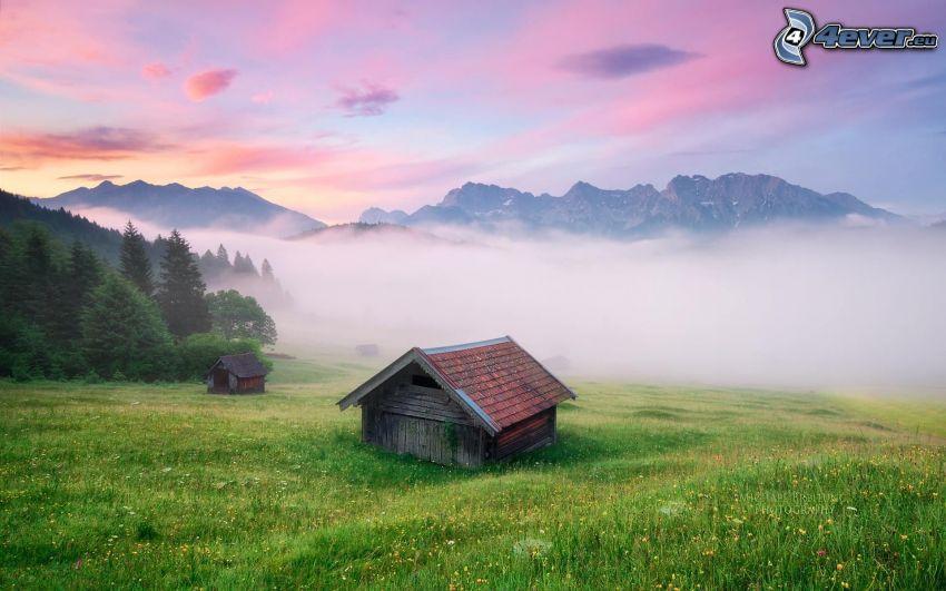 maison, prairie, brouillard au sol, collines, lever du soleil