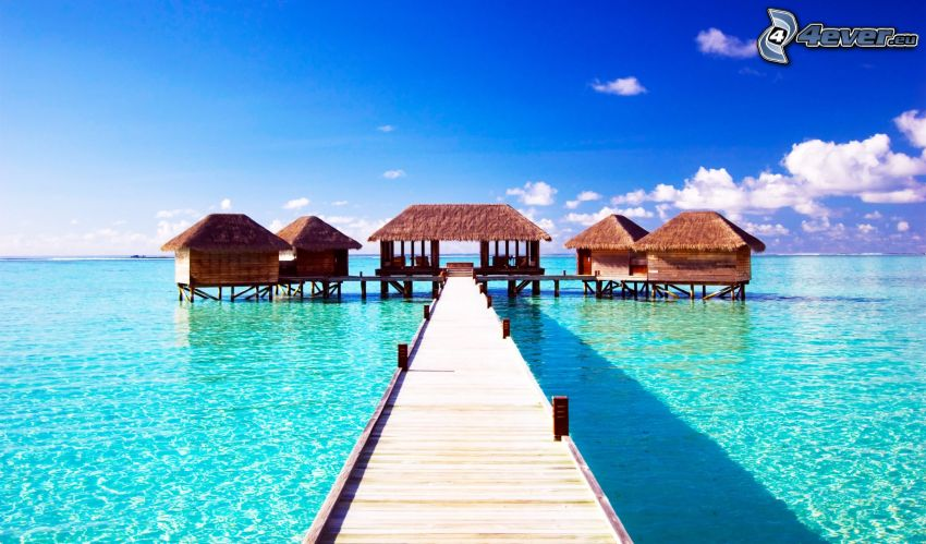 Maldives, maisons sur l'eau, mer