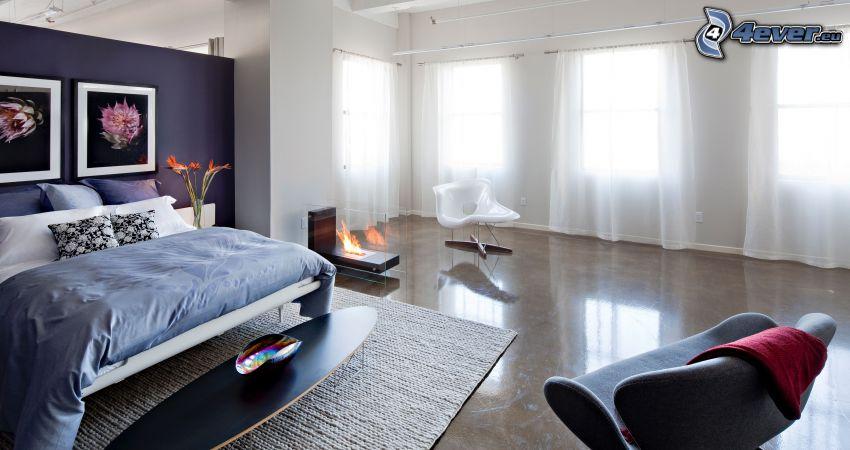 chambre à coucher, grand lit, Chaises