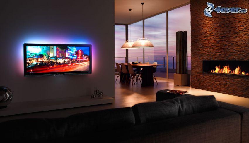 cinéma à domicile, cheminée, table