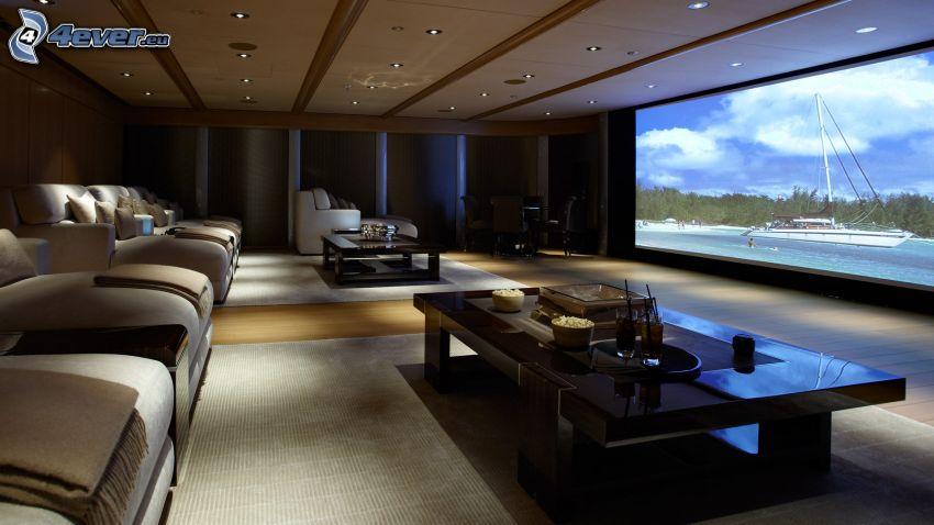 cinéma à domicile, table, navire