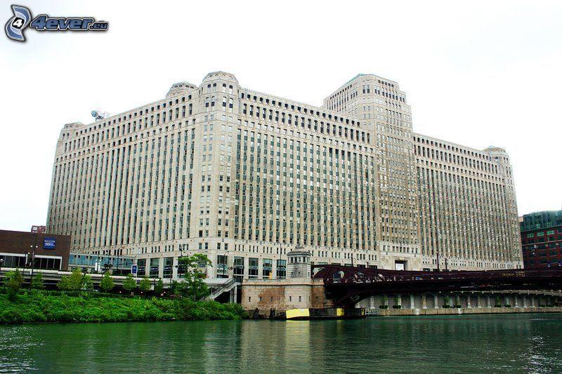 hotel, Chicago, USA, rivière, pont