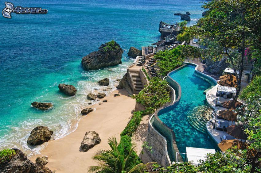 mer, piscine, plage, pierres