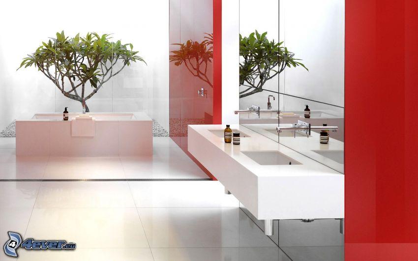 salle de bains, lavabos, bain, fleur