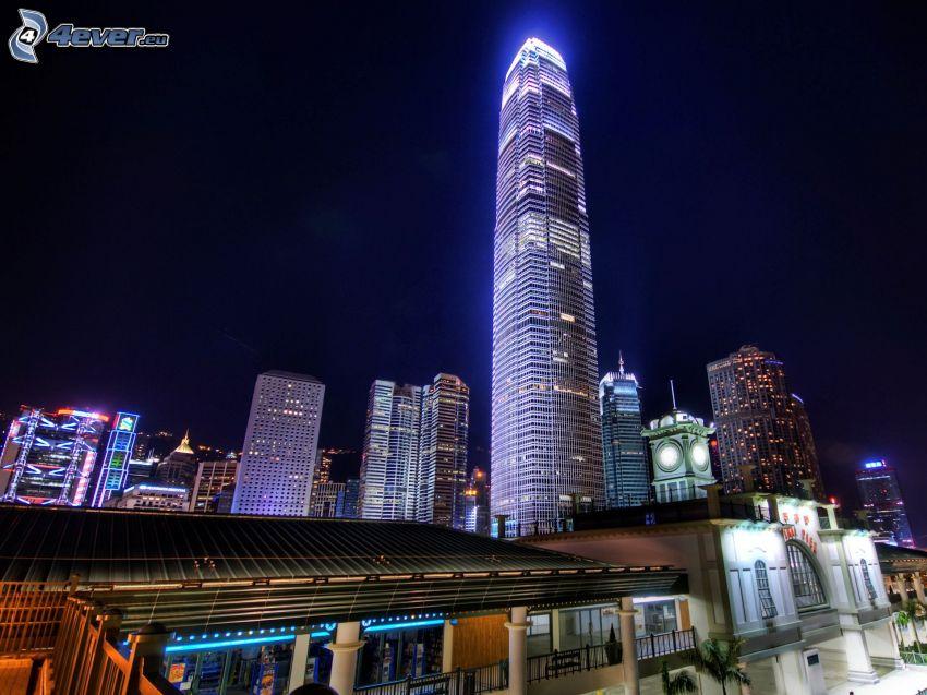 Two International Finance Centre, Hong Kong, gratte-ciel, ville dans la nuit