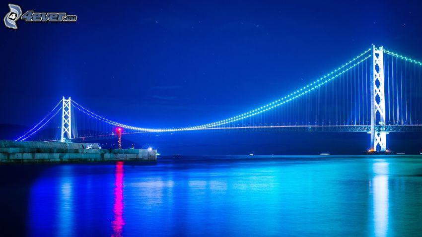 Akashi Kaikyo Bridge, pont illuminé, nuit