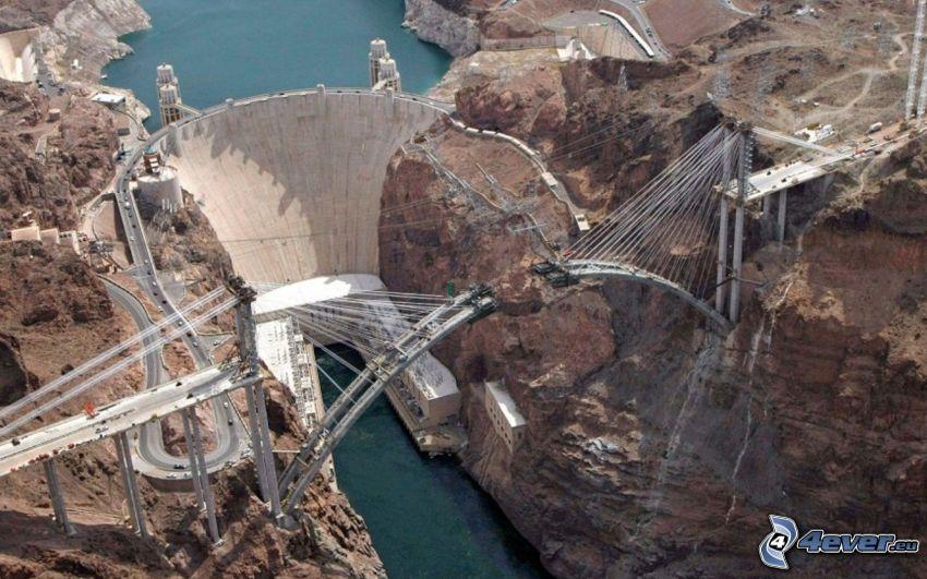 barrage Hoover, pont, construction, barrage, USA