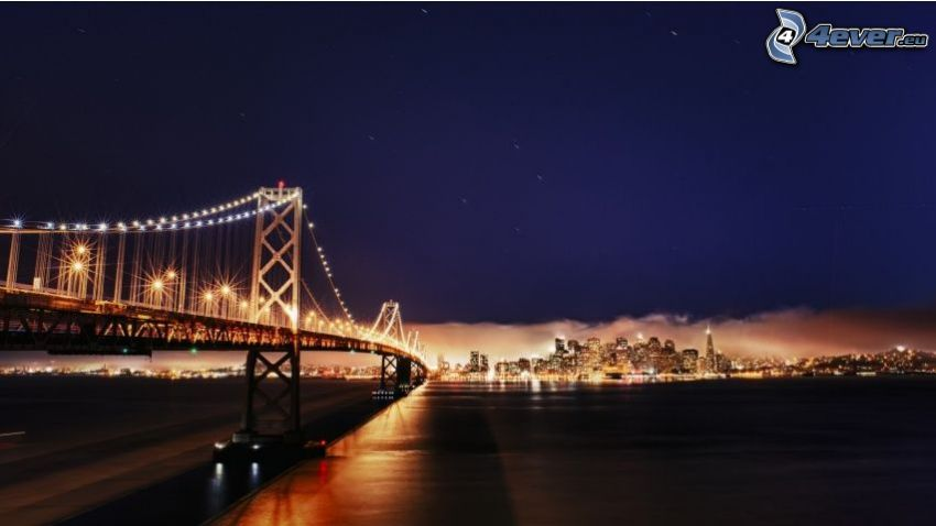 Bay Bridge, San Francisco, pont, ville dans la nuit