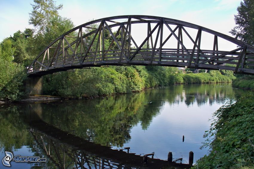 Bothell Bridge, rivière, reflexion
