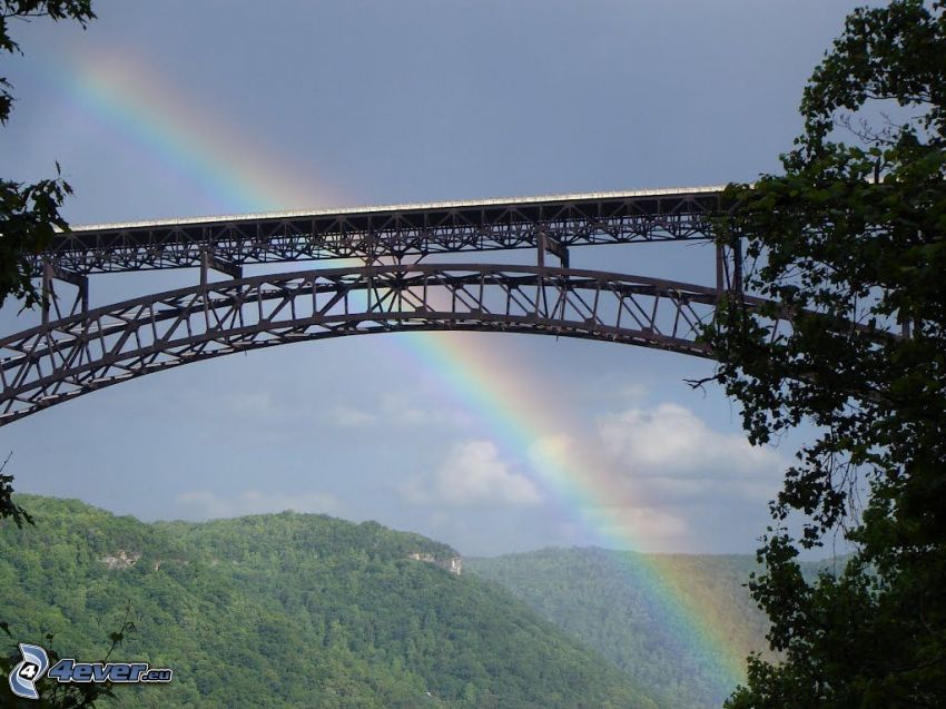 New River Gorge Bridge, arc en ciel, montagne
