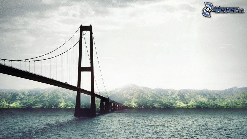 pont, rivière, collines