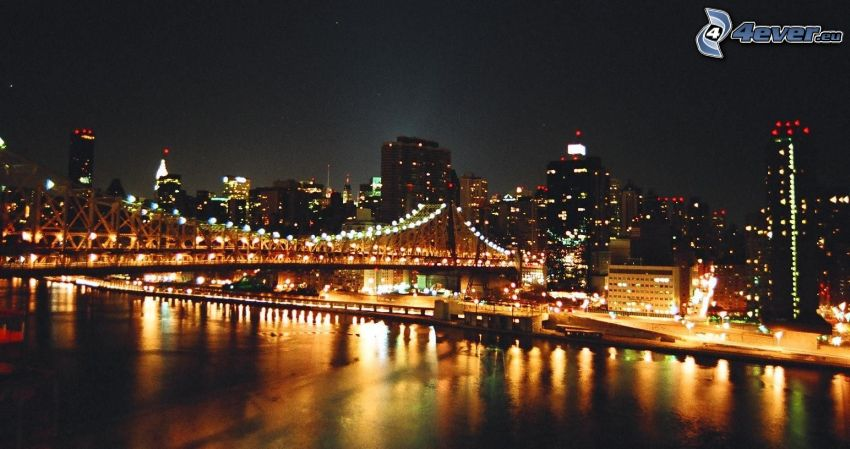 Queensboro bridge, pont illuminé, New York dans la nuit
