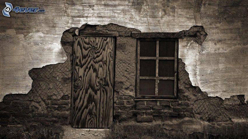 vieille porte, fenêtre, vieux mur
