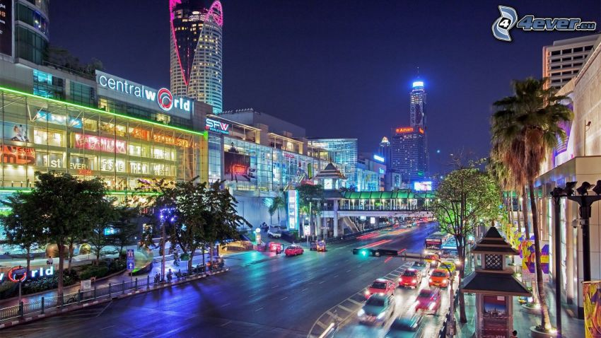 Bangkok, ville dans la nuit, rue
