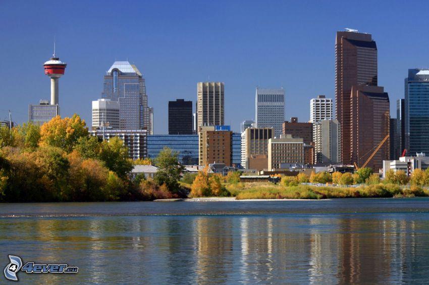 Calgary, gratte-ciel, rivière