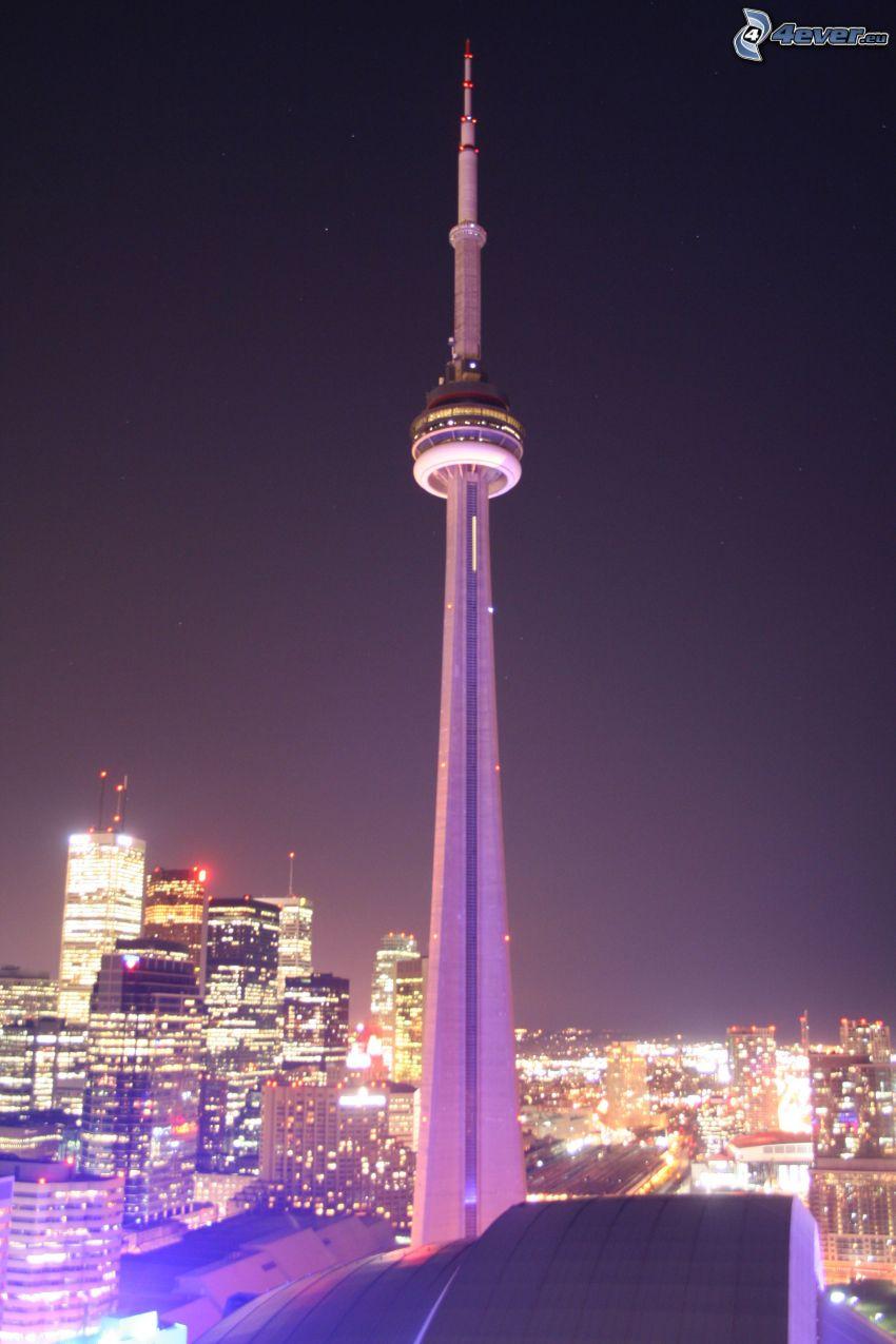 CN Tower, Toronto, ville dans la nuit