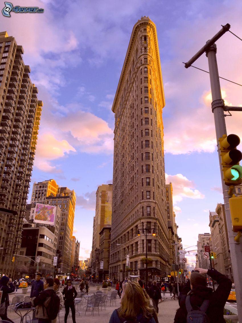Flatiron, Manhattan, rue, feux tricolores