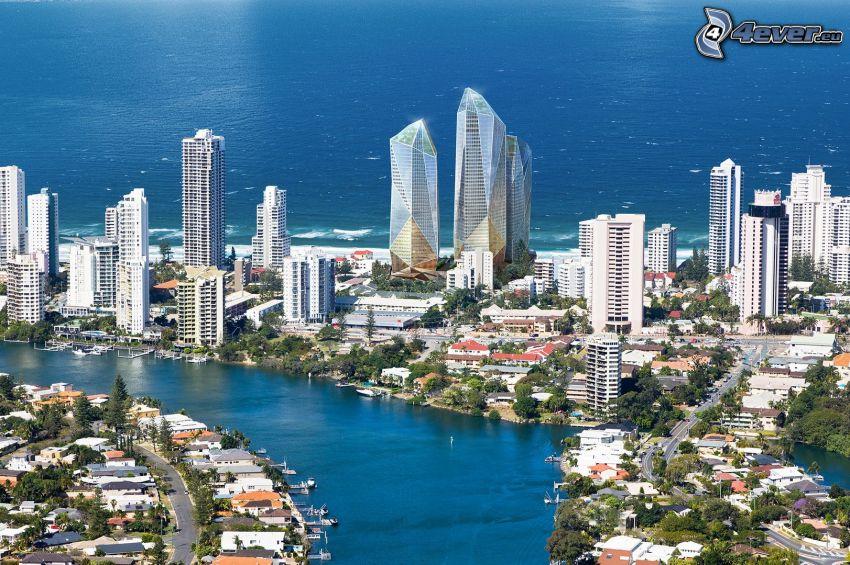 Gold Coast, gratte-ciel, mer