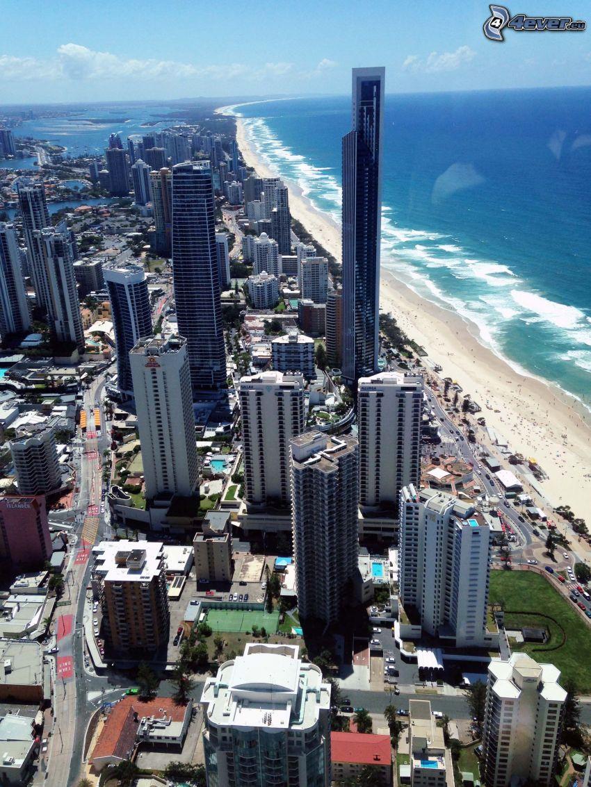 Gold Coast, gratte-ciel, ouvert mer, plage de sable
