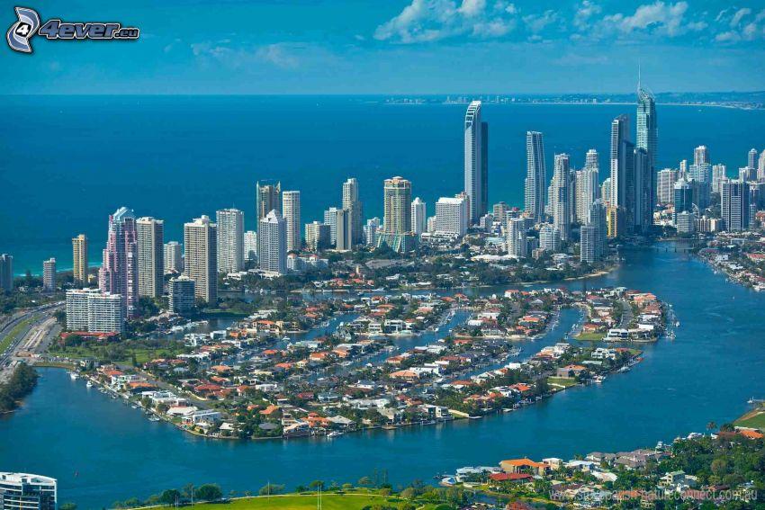 Gold Coast, gratte-ciel, ouvert mer
