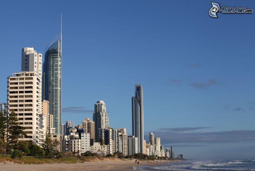 Gold Coast, gratte-ciel, plage de sable, mer