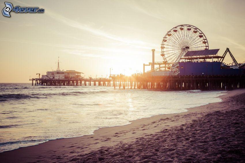 Grande roue, coucher du soleil, mer, plage de sable, Santa Monica