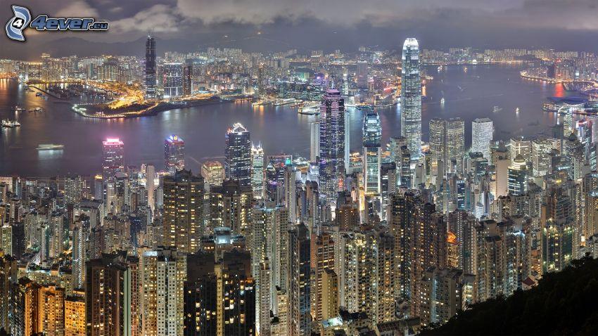 Hong Kong, gratte-ciel, ville dans la nuit