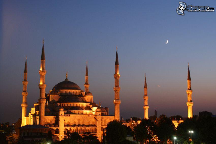 La Mosquée bleue, Hagia Sofia, lune, soirée