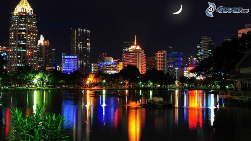 la Thaïlande, nuit, lune