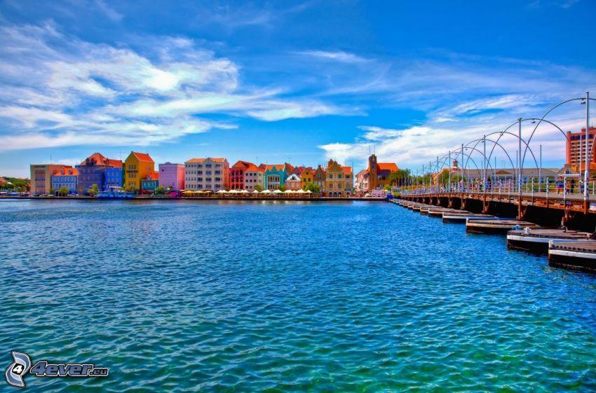 maisons colorées, port, Curaçao
