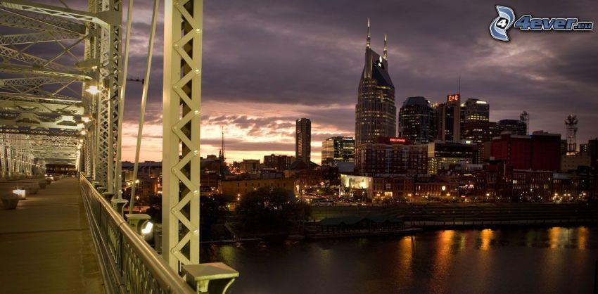 Nashville, pont, ville dans la nuit