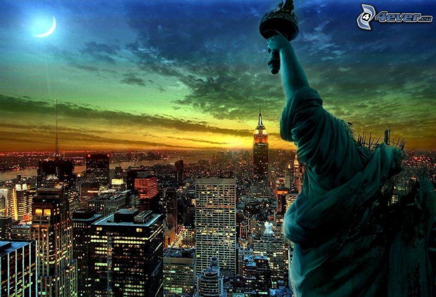 New York, USA, Statue de la Liberté, ville de nuit, vue sur la ville, après le coucher du soleil, gratte-ciel, lune