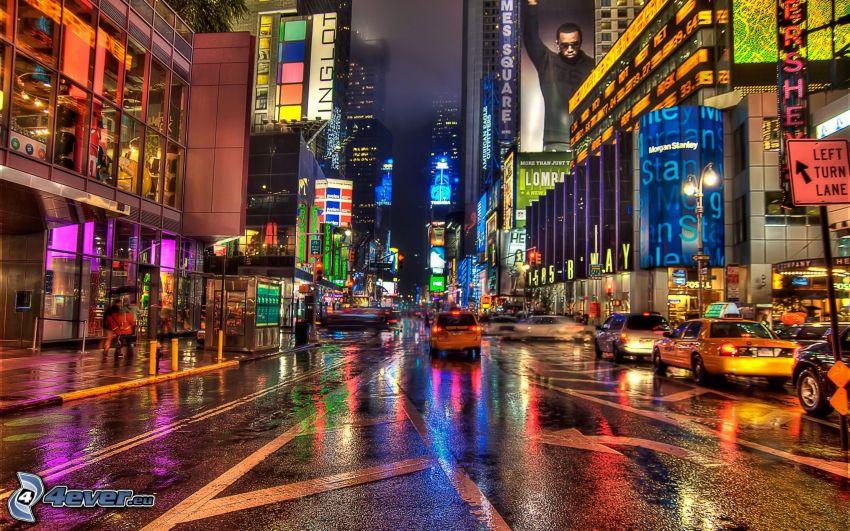 New York, ville dans la nuit, NYC Taxi