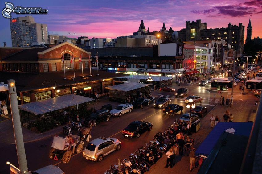 Ottawa, ville dans la nuit, rue, ciel violet