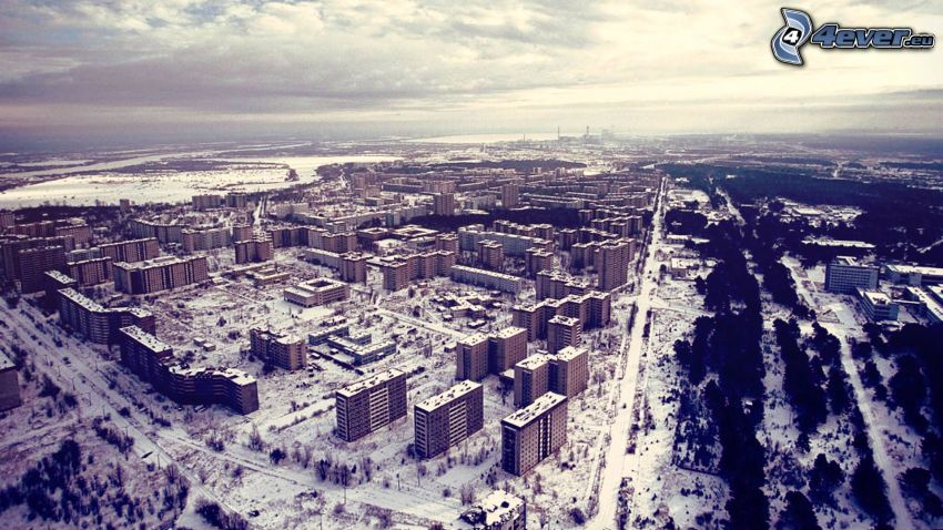 Pripiat, Tchernobyl, les immeubles, neige