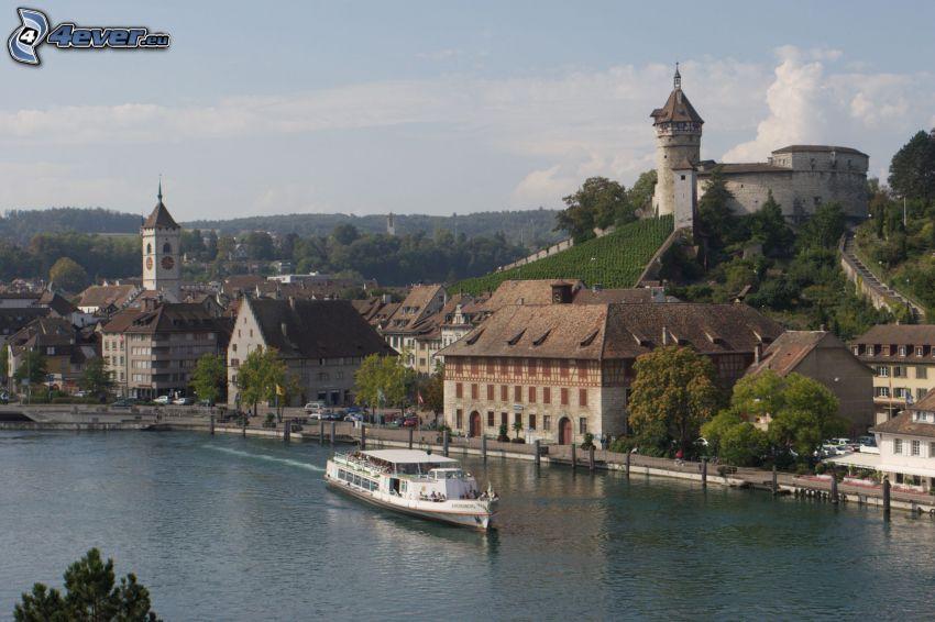 Schaffhausen, Munot, bateau sur la rivière