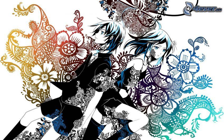 anime couple, abstrait