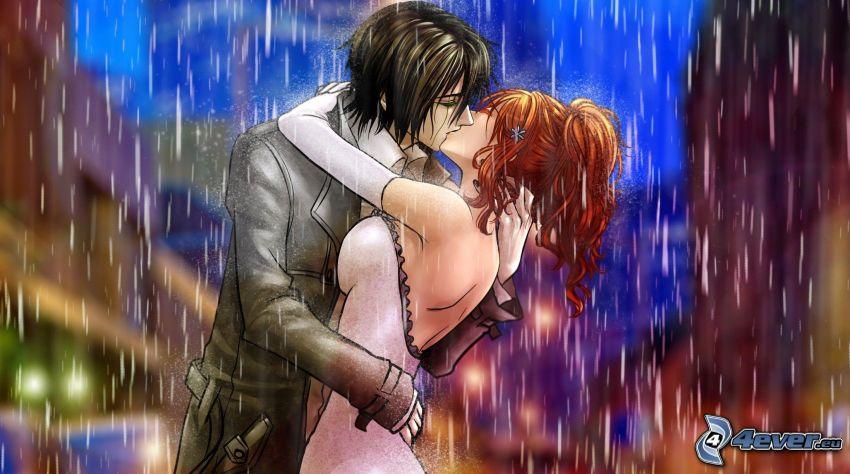 anime couple, couple dans la pluie, baiser
