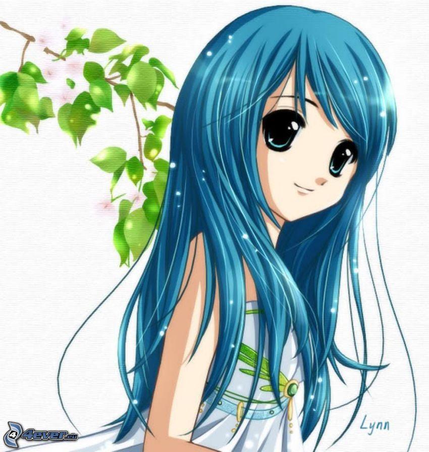 anime fille, cheveux bleus, branche, feuilles vertes