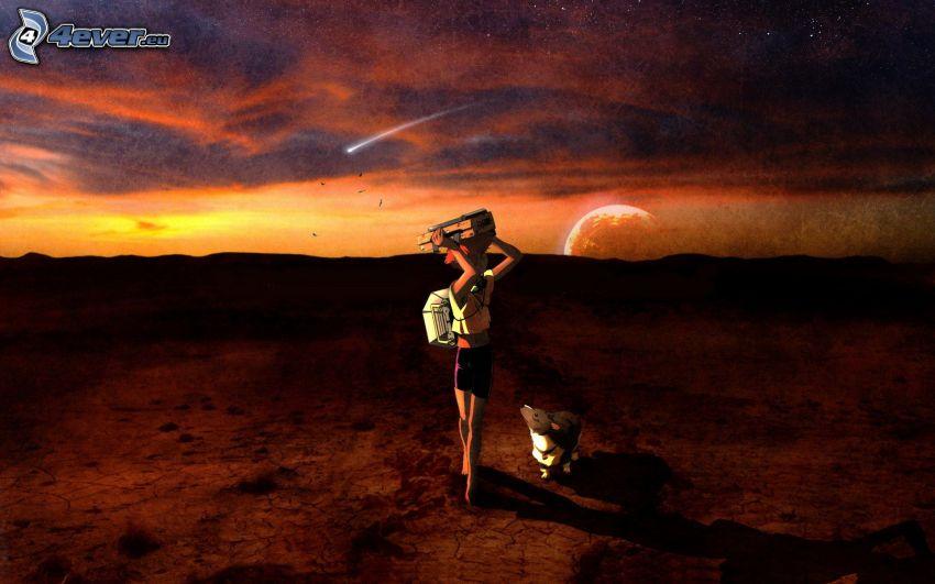 anime fille, chien, après le coucher du soleil, planète