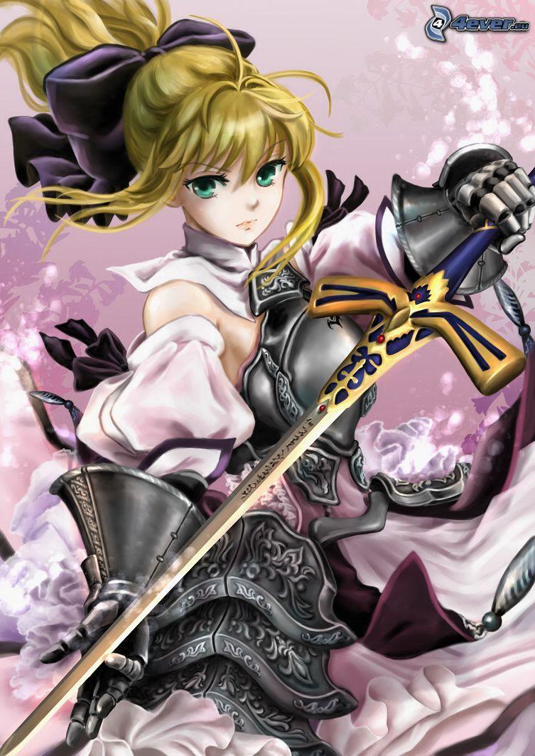 anime fille, femme avec une épée, guerrier