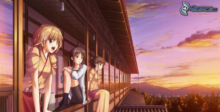anime filles, balcon, coucher du soleil