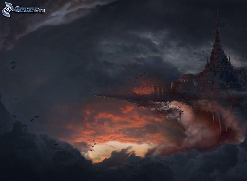 fantaisie, château, nuages d'orage