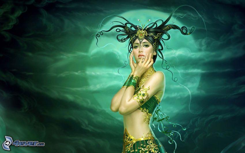 fée verte, lune, femme fantaisie