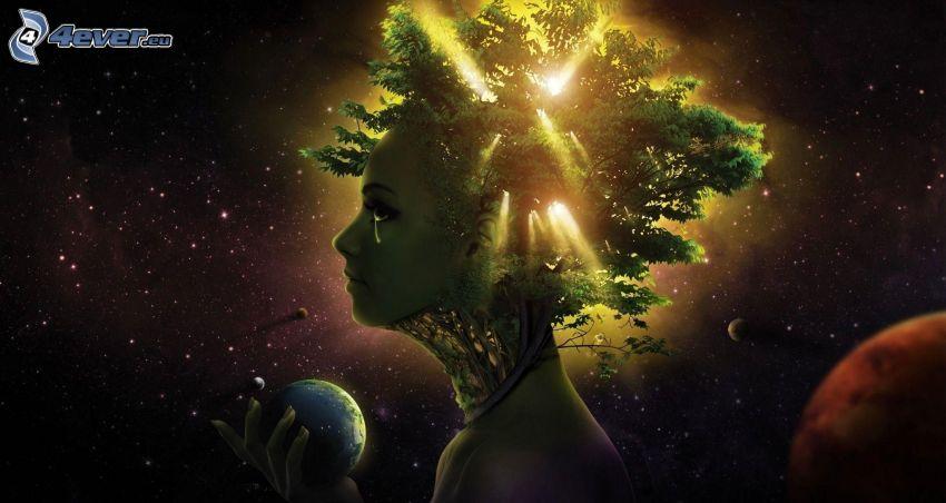 femme fantaisie, arbre, planète Terre