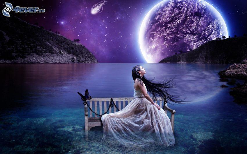 femme fantaisie, brune, cheveux longs, banc, papillon, planète, lac, nuit